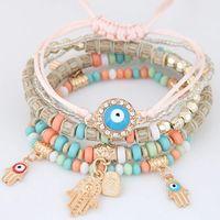 Каббала Фатима Хамса рука сглаза Подвески Браслеты Браслеты Многослойные Плетеные ручной Beads Pulseras Для женщин Для мужчин