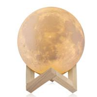 8cm de impressão 3D recarregável luz da lua 2 cor interruptor de toque quarto estante luz da noite de decoração presentes criativos