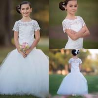 아이보리 인 어 아이 웨딩 드레스 레이스 반구와 함께 통신 결혼식을위한 어린이 가운 긴 꽃의 소녀 드레스