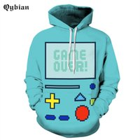 Qybian 2017 Fashion Blue game button printed Hooded Funny Me...