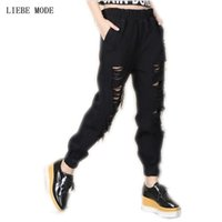 Boyfriend Knee Hole Harem Jeans For Women Elastic Waist Ripp...