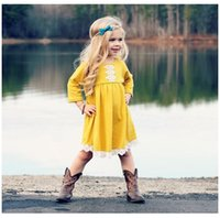 Sweet Girls Cotton Dresses with Lace Fall 2018 Kids Boutique...