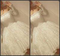2019 nieuwe collectie witte glans korte homecoming jurken pailletten uit de schouder lange mouw feestjurk dunne lint A-lijn cocktailjurk 639