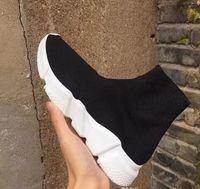 저렴한 가격 유니섹스 캐주얼 신발 평면 패션 양말 부츠 레드 그레이 트리플 블랙 화이트 스트레치 메쉬 높은 탑 스니커 스피드 트레이너 러너