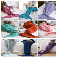 Mermaid Tail Blanket Crochet Knitted Mermaid Blanket Wrap fo...