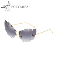 Luxury Women Designer di marca Cat Eye Occhiali da sole UV400 Rivestimento Mirrorr Lens Summer Fashion Style Frameless Occhiali da sole con custodia