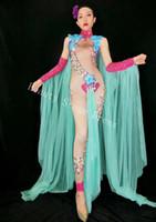 DJ DS Songbird Yeni Stil Büyük Çiçekler Rhinestones Streç Çıplak Tulum kadın Seksi Kostüm Kadın Şarkıcı Dans Sahne Giyim Yeşil Örgü Kıyafet
