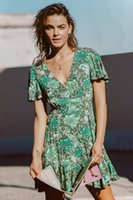 Green boho beach dresses women chic floral printed sexy V- ne...