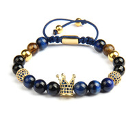 Blue Cz Crown Men Bracelets All'ingrosso 8mm Natural Tiger Eye Stone Beads Macrame Jewelry con perle in acciaio inossidabile