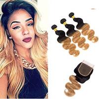 Ombre Brazilianisches Reines Haar gerade 3 Bündel mit Schließung 1B27 Ombre Gerade Harmonische Haarwebart Bündel
