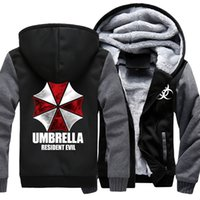 Gioco caldo Resident Evil Umbrella Corporation Logo Stampa Mens Zipper con cappuccio in pile addensare giacca felpa cappotto Drop Ship