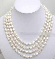 """Spedizione gratuita Super Long 80 """"7-8mm White Baroque perla d'acqua dolce naturale collana-ne1641"""