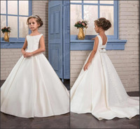 Cheap 2018 Satin Flower Girl Dresses for Wedding Backless wi...