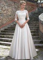 2019 Abiti da sposa Sincerity da sposa con giacca staccabile Elegante linea A Abiti da sposa in raso di pizzo Vestido De Noiva Custom Made E41