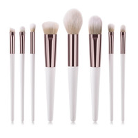 New 8pcs set White Makeup Brushes Set Nylon Fiber Wooden Han...