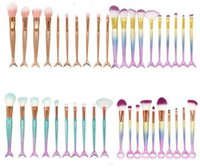 10pcs set Eye Makeup Brushes Set Mermaid Handle Design Blush...