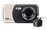 """3.7"""" Araba DVR sürüş video kaydedici araba çizgi kamera çift lens çift kayıt 140 ° geniş FOV Full HD 1080P gece görüş G-sensor"""