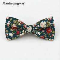 Mantieqingway populares pajaritas de algodón corbatas florales pajarita para hombres traje pajarita para hombres accesorios de moda del banquete de boda