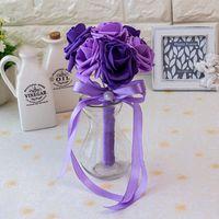 Barato Rose Rojas nupciales Bouquets Hecho a mano Flores artificiales Rose Cintas Suministros de boda Novia Holding Flowers Broche Ramo CPA1560