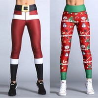 2018 Brand New Women's Deportes de Navidad YOGA Entrenamiento Gym Fitness Leggings Pants Santa Christmas Trousers