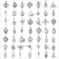 Más de 60 estilos Perla Joyas de jaula Medalla colgante Hallazgos Jaula Esencial Difusor de aceite Medallón para perla Oyster