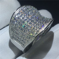 Vecalon Vintage Hiphop Ring 925 Sterling Silver Pave setting...