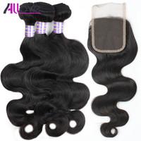 Allove 도매 10A 브라질 레이스 클로저로 인간의 머리카락 위브 4bund 말레이시아는 페루의 헤어 익스텐션을 엮어 낸 인도의 인간의 머리카락