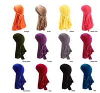 Yeni Erkekler Kadınlar Bandana Kadife Türban Şapka Durag Hip hop Şapkalar başörtüsü uzun kuyruk headwrap Kafatası Kap Korsan Şapka Erkekler Ve Kadınlar Için 12 Renkler