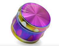 63mm Drum Rainbow Metall Herb Grinder Sharpstone Zinklegierung Tabak Grinders Rainbow Grinder für das Rauchen von trockenen Kraut