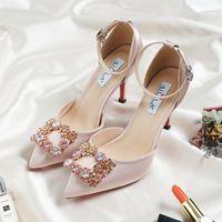 Шампанское каблук Свадебные туфли на шпильках Свадебные туфли невесты с бисером Роскошные дизайнерские туфли с острым носом стразы Свадебные туфли с пряжкой