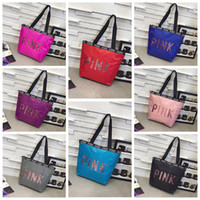 8 Colors PINK Sequin Handbag Pink Letter Handbag Ladies Larg...