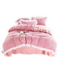 Fashion Plaid Bedding Sets Cotton Soft Bedding Supplies Mode...