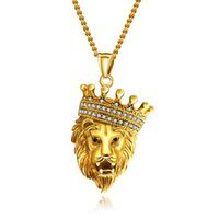 "24 "" Мужчины Хип-Хоп Золотое Ожерелье Оттаявшим Bling Король Лев Голова Кулон Ожерелье"