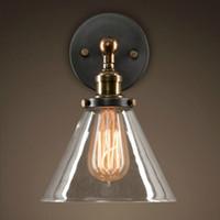 Lampadaires industriels loft lampes de chevet vintage lampe de abat-jour en verre clair abat-jour E27 Edison 110V / 220V