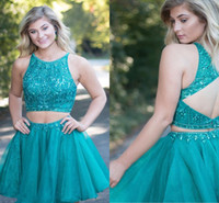 Deux pièces courtes robes de bal en cristal perlé Sheer Neck Tulle Organza Backless Plus la taille robes de bal robes de cocktail Turquoise