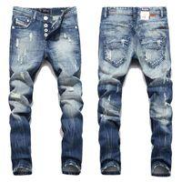 Moda Erkekler Jeans Balplein Marka Düz Ripped Fit Jeans İtalyan Tasarımcı Sıkıntılı Denim Jeans Homme Toptan