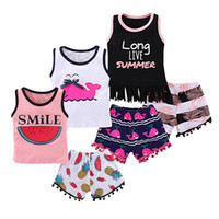 Mikrdoo Kids Baby Sweet Outfit Chaleco sin mangas Top Cartoon Shorts 2PC Outfits Toddler Infantil Summer Fashion Fruits Animal Tassel Clothes Set