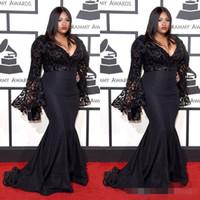 Грэмми награды плюс размер знаменитости вечерние платья с длинными рукавами Джазмин Салливанские блестки выпускные платья черные кружевные вечерние платья