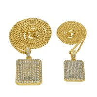 Blingbling Rhinestone Pendants Gold Silver Colors Square Pen...