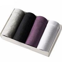 Hommes Sous-vêtements mémoires Solide 100% Coton Mémoires (4pcs / lot) Culottes Respirant Hommes Plus Taille Confortable Livraison gratuite