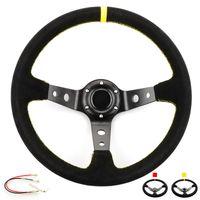 14 дюймов 350 мм OMP глубокая кукуруза дрейфует OP рулевое колесо гонки замша противоскользящая рулевое колесо красная / желтая линия с логотипом