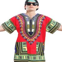 Yaz Dashiki Odom T-shirt erkek Kısa kollu Nefes t-shirt Eur Büyük Boy Baskı T-shirt Etnik Tarzı