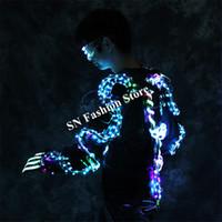 LZ39 светодиодные костюмы бальный танец светящиеся светодиодные очки перчатки робот костюм мужчины satge носит одеть светодиодные куртки светящиеся DJ платье производительность