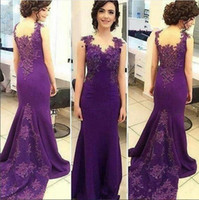 2018 Mother Of The Bride Dresses Purple V Neck Lace Applique...