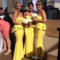 우아한 진짜 이미지 신부 들러리 드레스 사용자 지정 긴 연인 밝은 peplum 신부 들러리 드레스 수 선화 저녁 댄스 파티 가운 판매