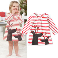 Christmas Baby Girl Clothes Dresses Reindeer Toddler Long Sl...