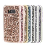 Shinny bling diamond phone cases 2 in 1 TPU and PC protector...
