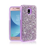 Hybrid 2 en 1 Diamond strass Bling Gling Case Téléphone pour iPhone XR XS Max Samsung J3 J7 2018 S9 LG Stylo 4