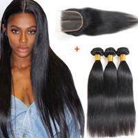 Brazilian Straight 3 o 4 Bundles con cierre 100% sin procesar Brazilian Virgin Hair Extension humana Peruvian Virgin Remy Hair Straight