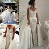 Arabe Dubai 2018 Dentelle V tanné Vol Mermaid Robes de mariée avec jupe Satin Detachbale Jupe Puffy Robe de mariée Robes de mariée sur mesure En1203